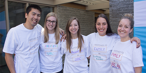 MD students gathered at the UBC Medical Student Alumni Centre to celebrate the results of the first round of CaRMS.